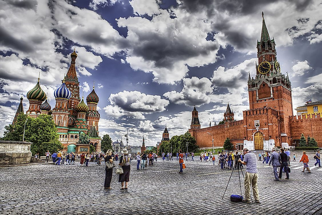 Red square Moscow cityscape.