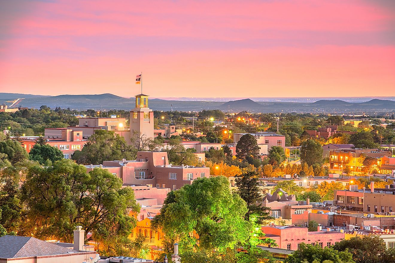 Santa Fe, New Mexico, USA downtown skyline at dusk. Image credit: Sean Pavone/Shutterstock.com