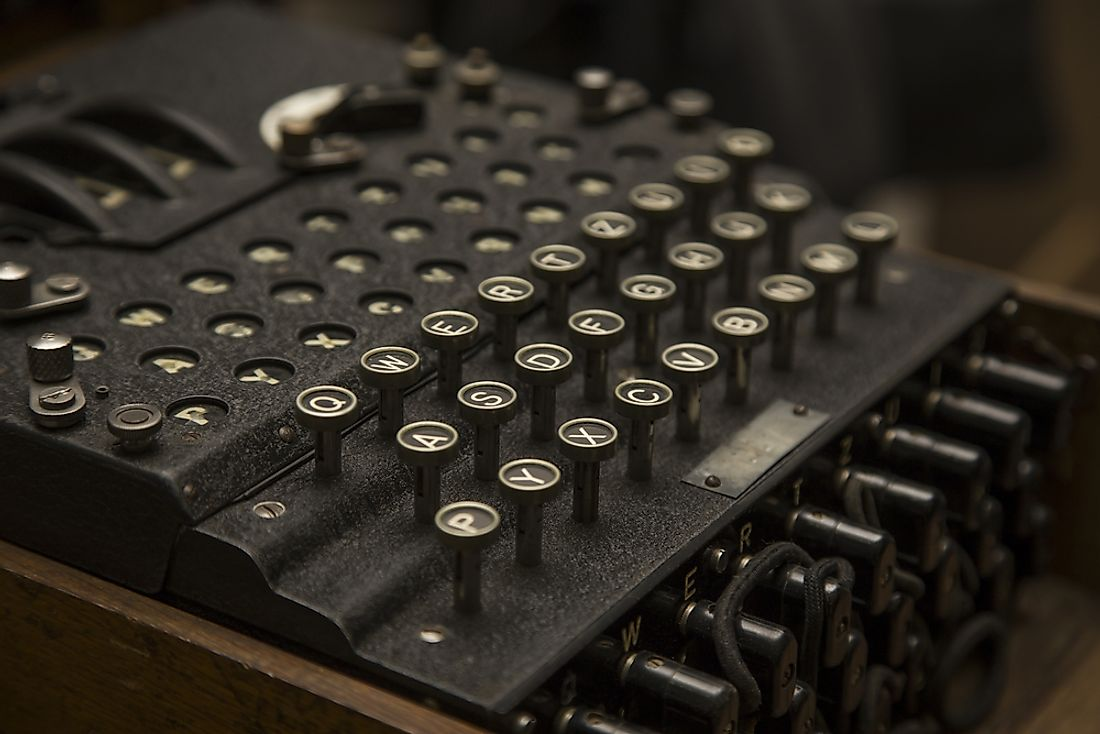 The enigma machine was used to send coded messages.