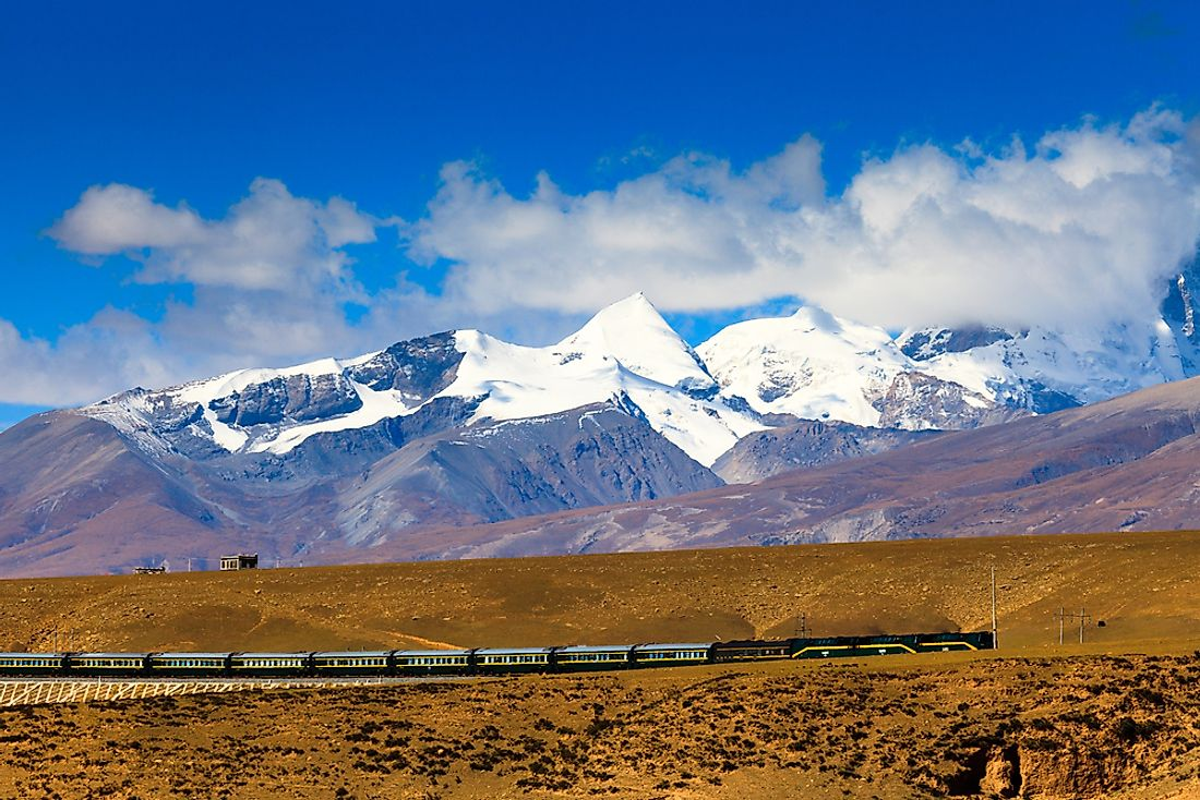 The Nyenchen Tanglha Mountains in Tibet.