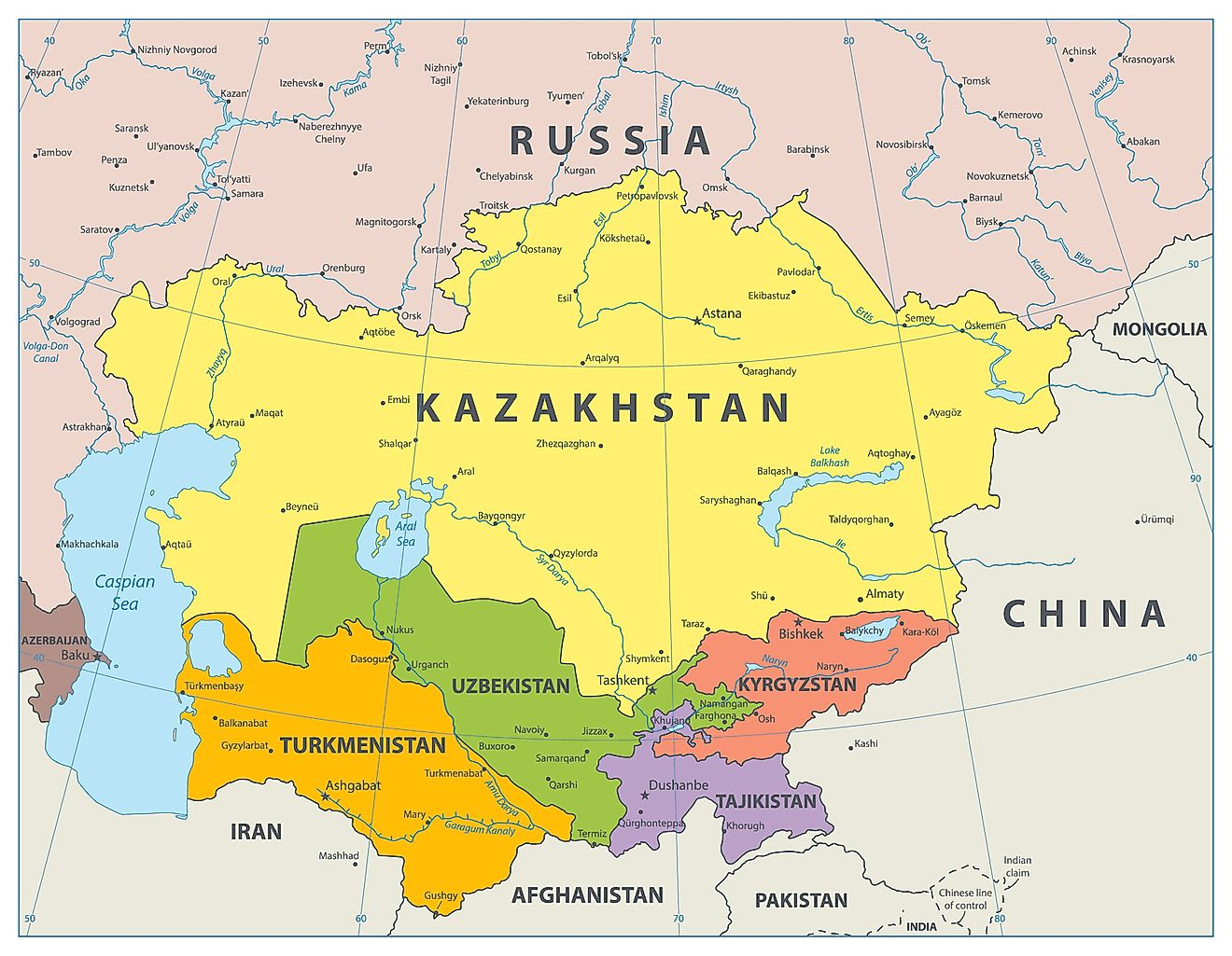 Map of Central Asia. Image credit: Cartarium/Shutterstock.com