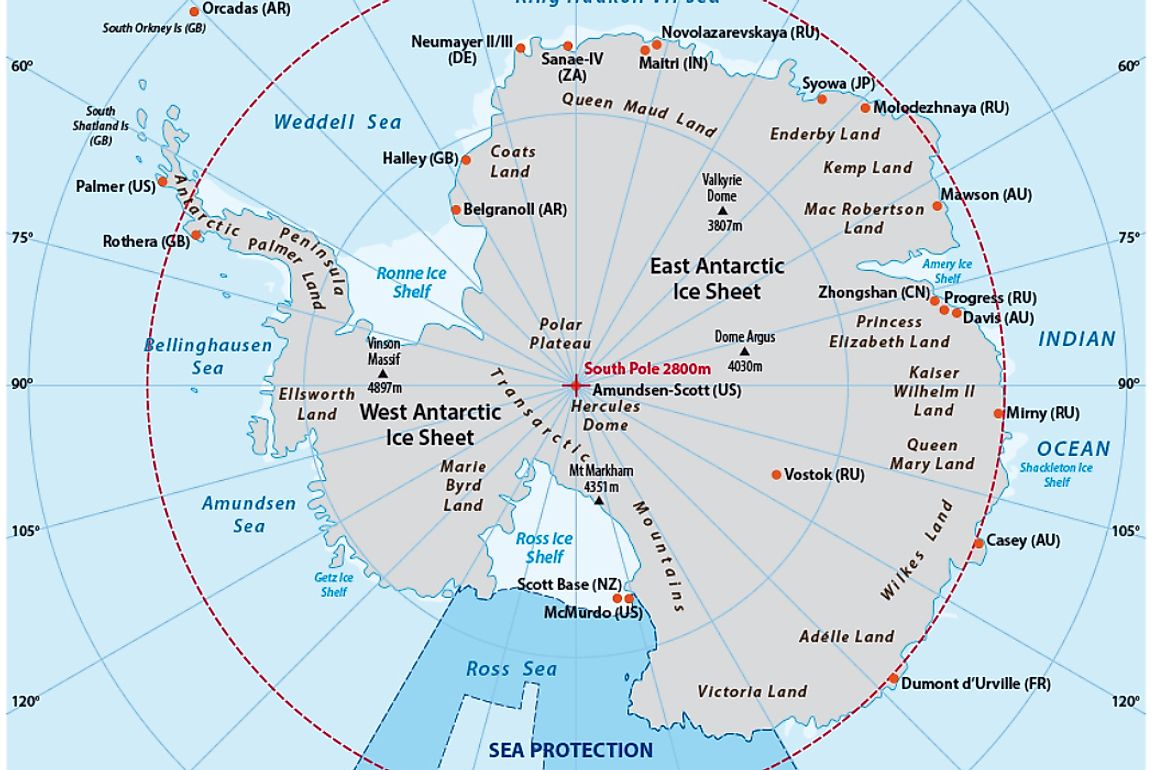 A map of Antarctica.