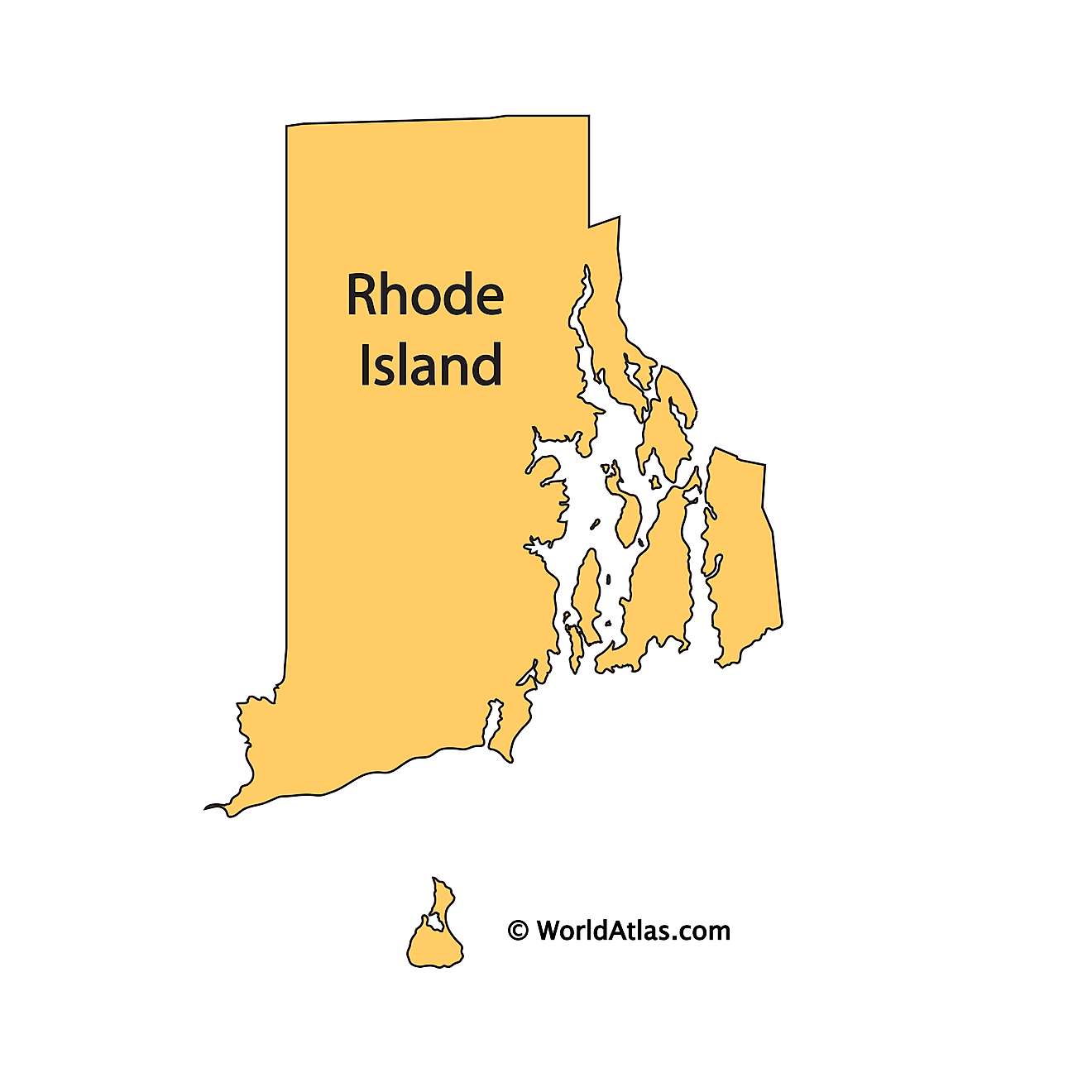 Outline Map of Rhode Island