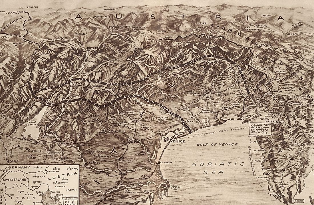 Map of the Italian-Austrian front during the Battle of Caporetto in October 1917.  Editorial credit: Everett Historical / Shutterstock.com