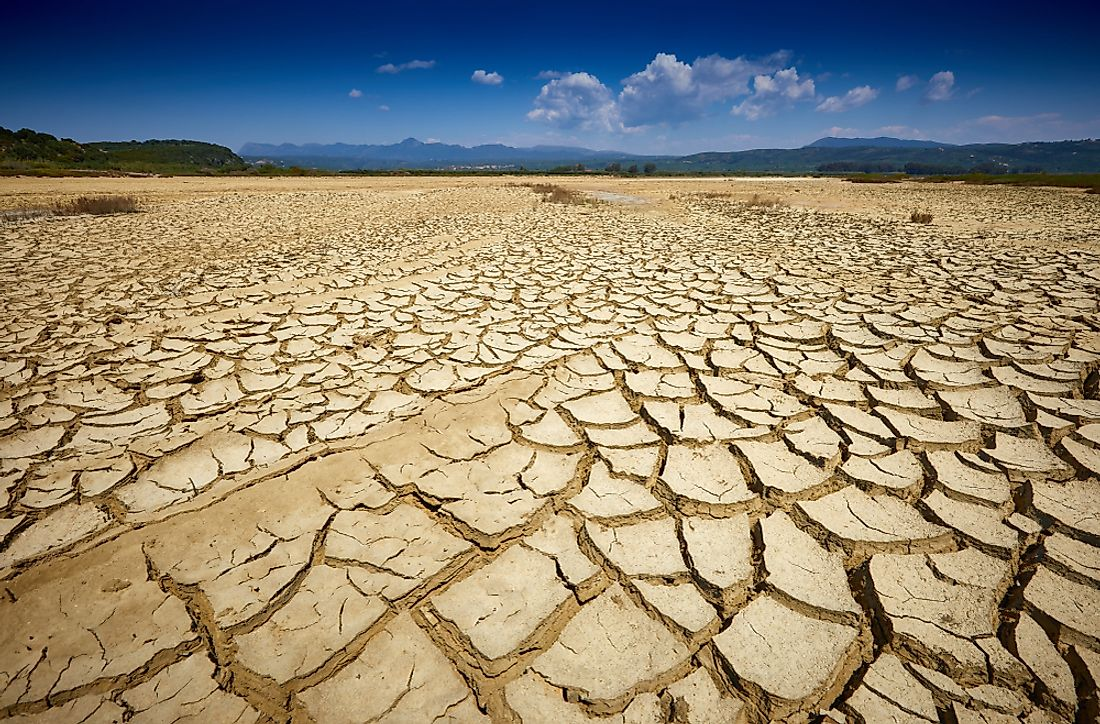 Land dry and cracked in a drought.