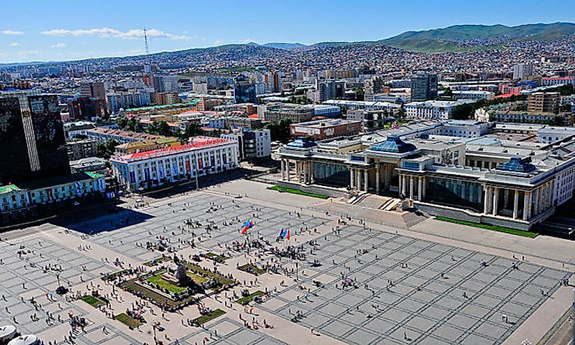 The Chinggis Square and Mongolian Parliament in ​Ulan Bator​, the capital city of Mongolia.