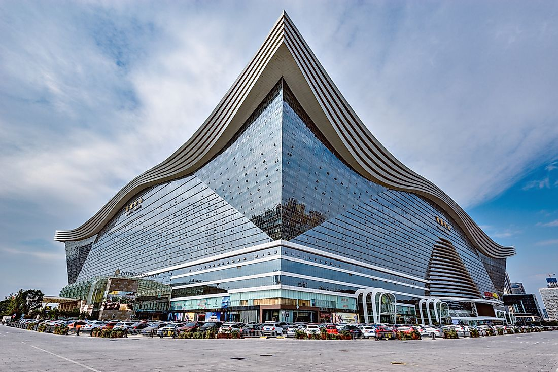 The New Century Global Center in Chengdu, China, is the world's largest building by square footage. Editorial credit: Serjio74 / Shutterstock.com.