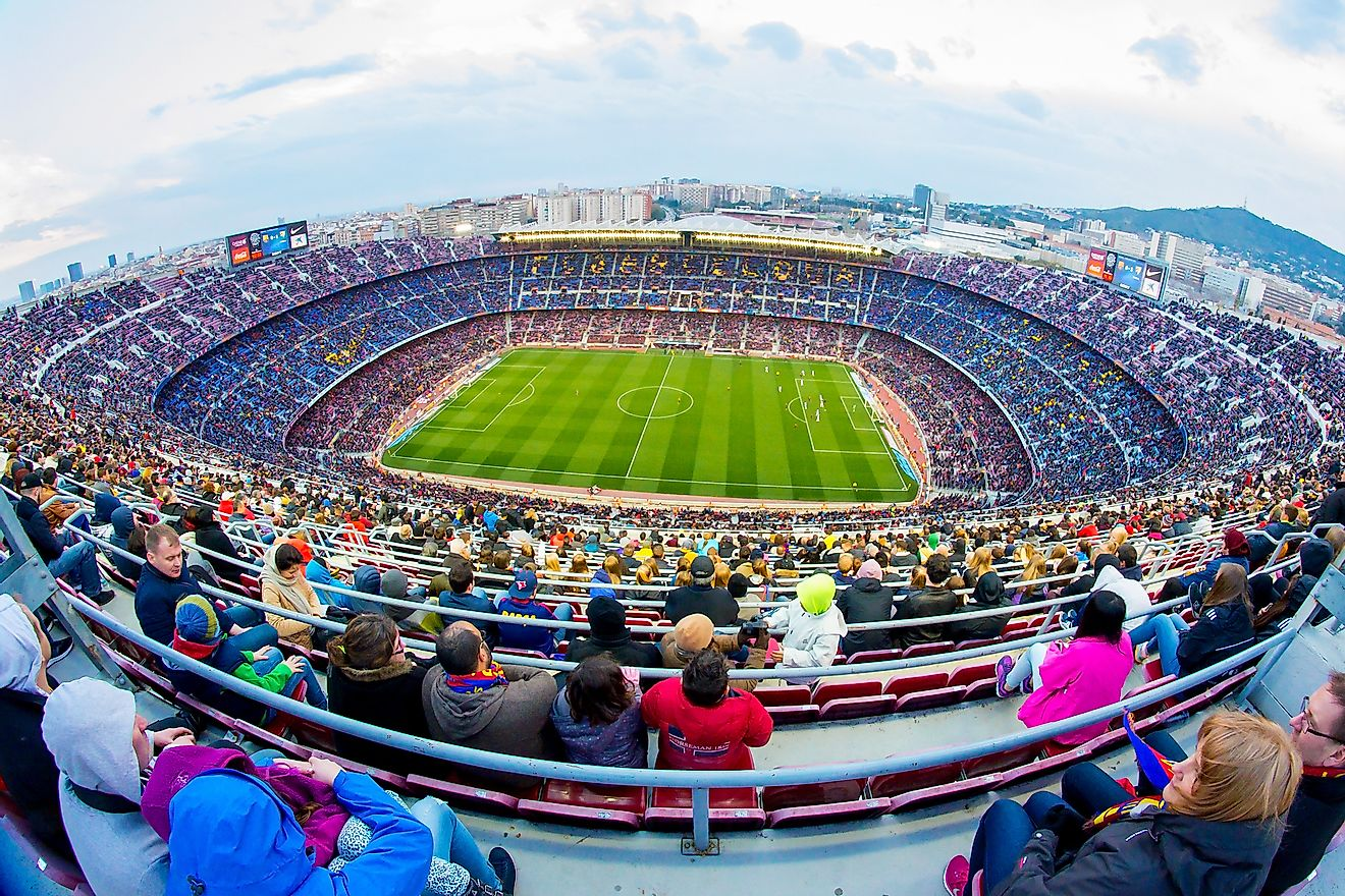 Camp Nou, Barcelona, Spain, is Europe's largest stadium. Image credit: Christian Bertrand/Shutterstock.com