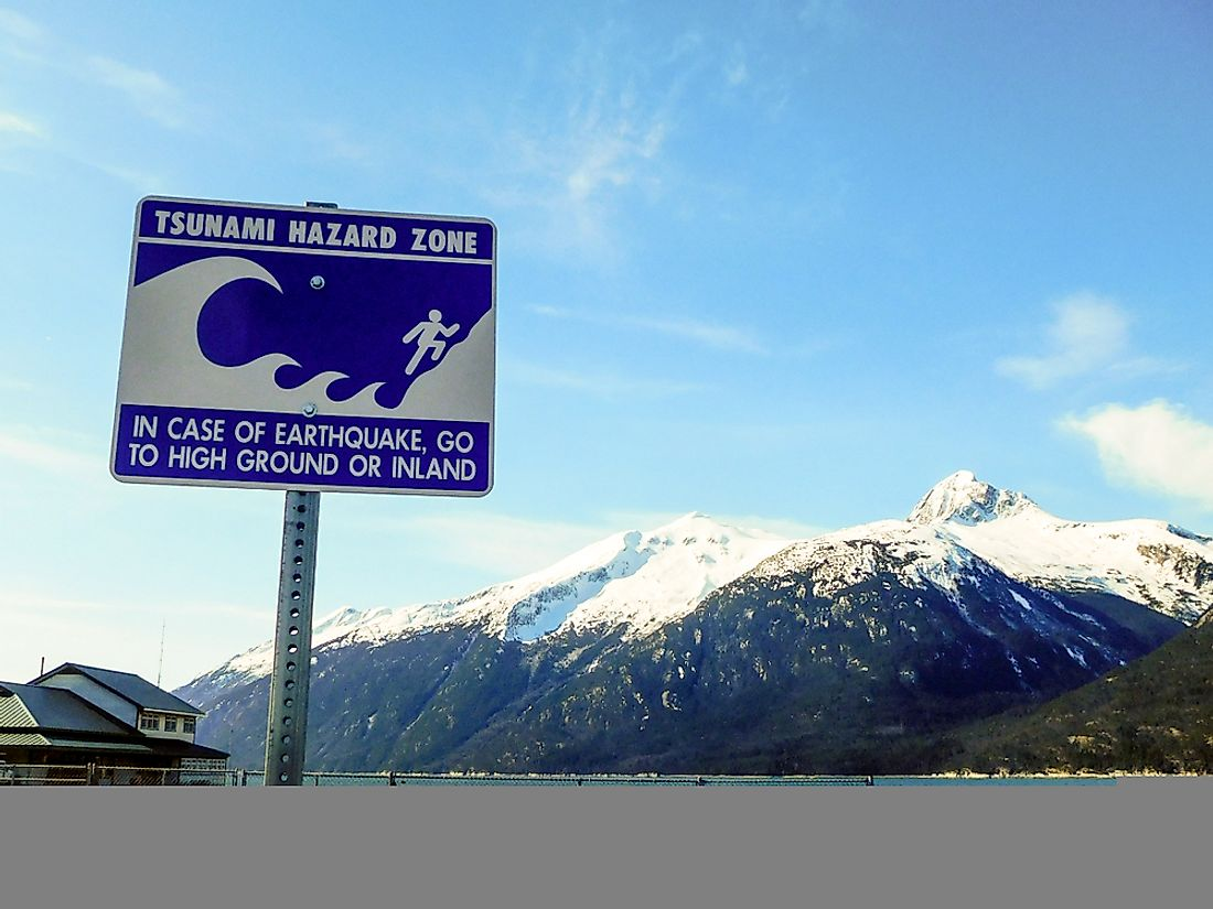 A sign in Alaska warning of the danger of tsunamis.