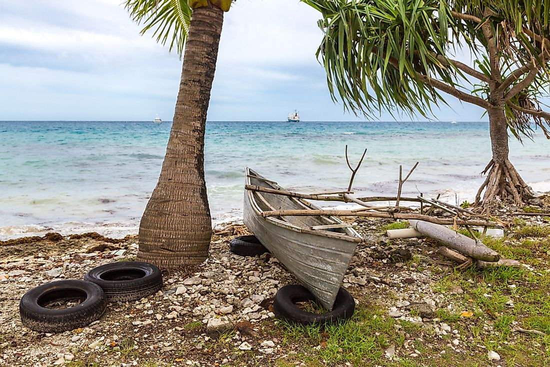 Fishing boats in Tuvalu.