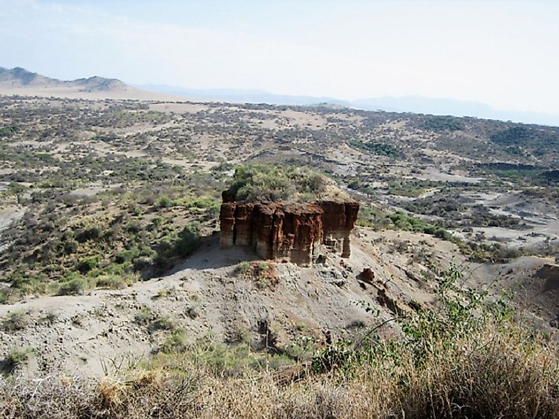 Tanzania's Olduvai Gorge as seen from above.