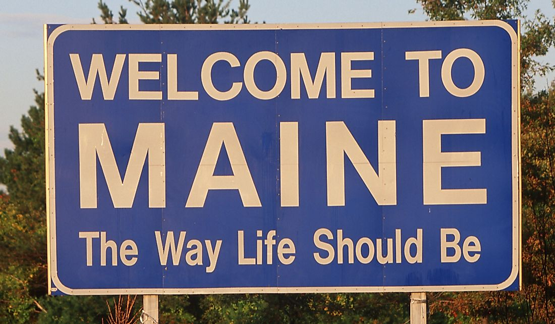 Welcome to Maine road sign.