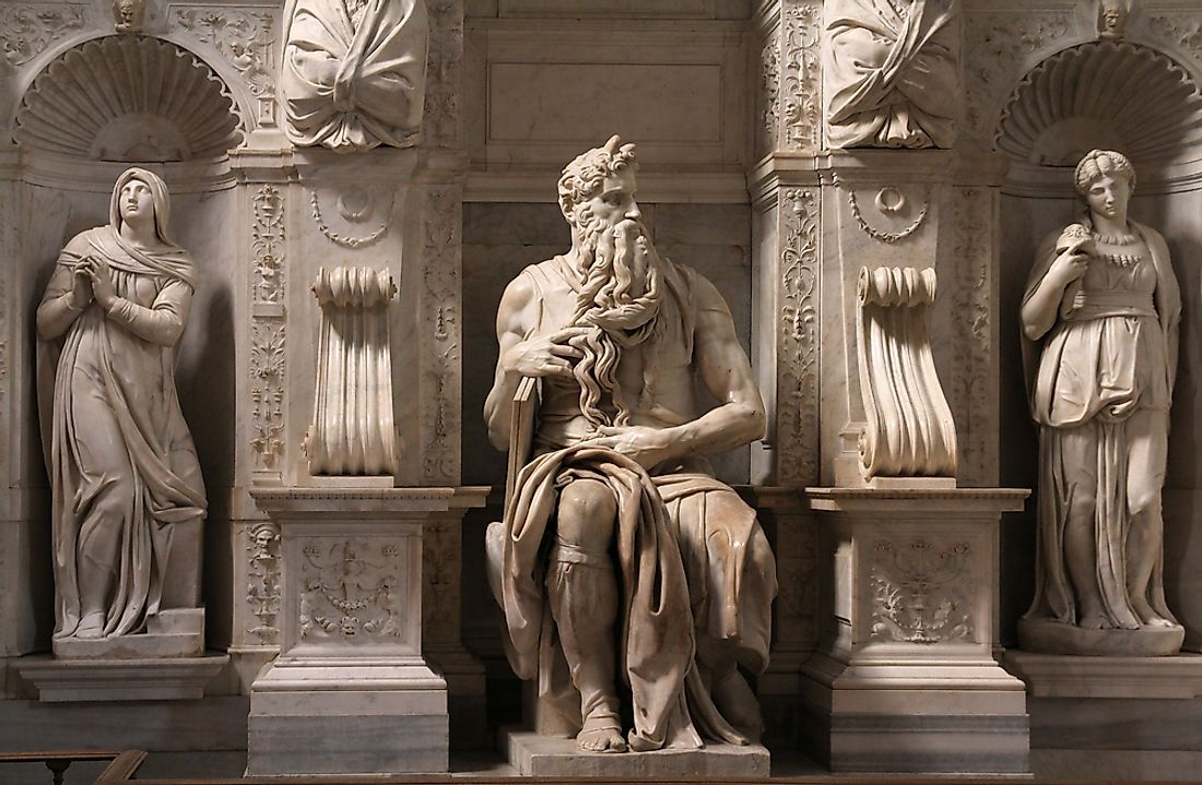 The famous statue of Moses by Michelangelo .