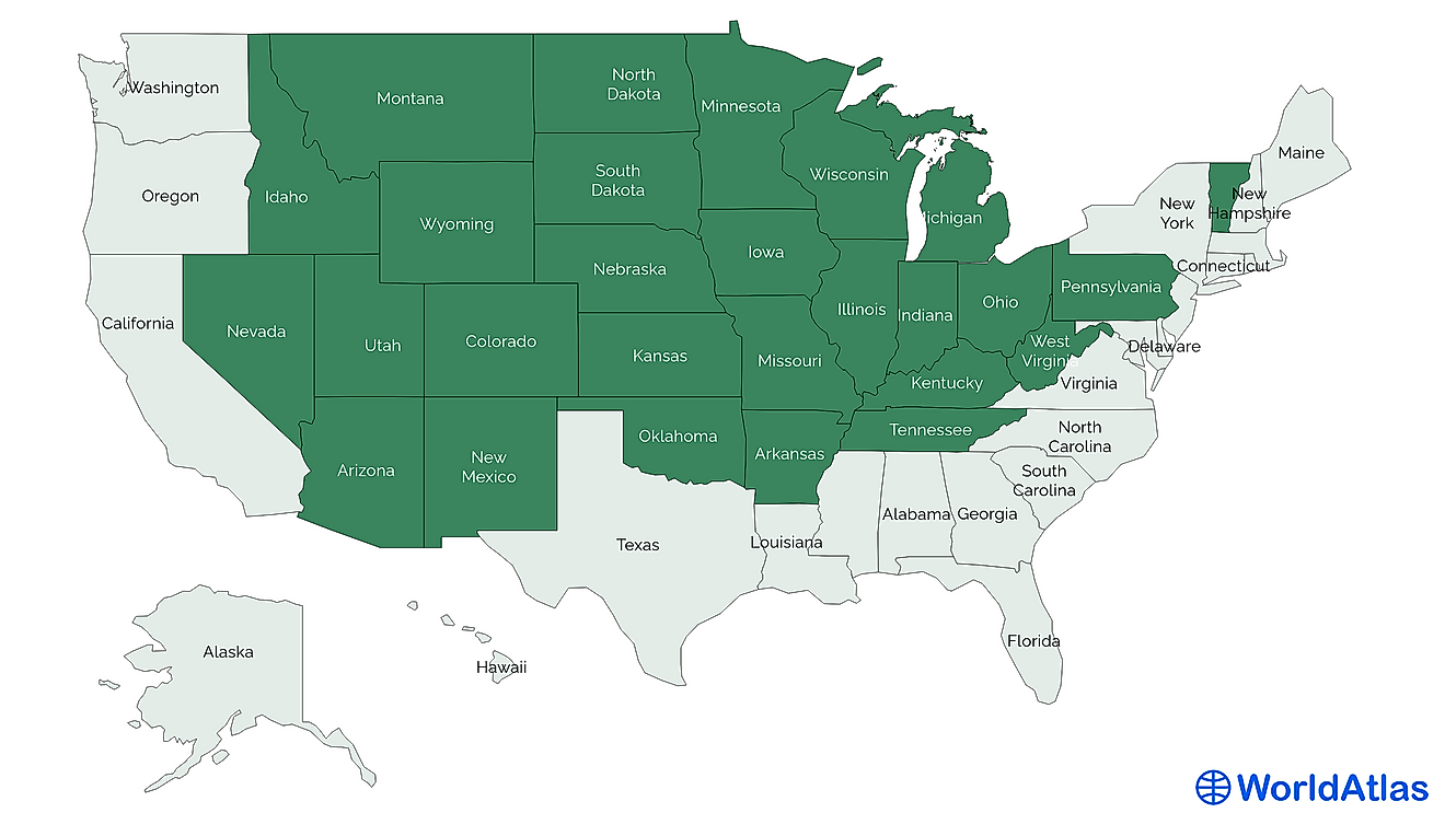 Landlocked states of the United States