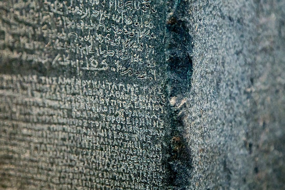Editorial credit: Natalya Okorokova / Shutterstock.com. The famous Rosetta Stone, for which the Rosetta Stone series of learning is named for.