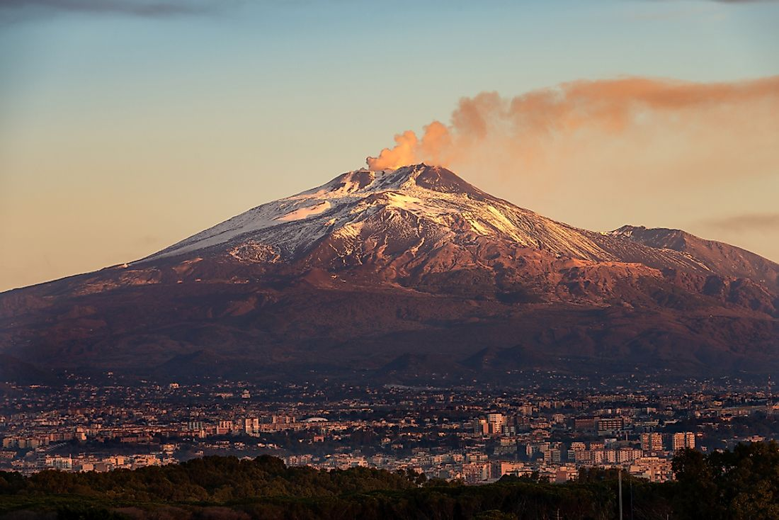 Mount Etna in Sicily, Italy is an example of an active volcano.