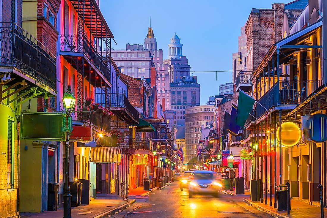 The French Quarter of New Orleans, USA.