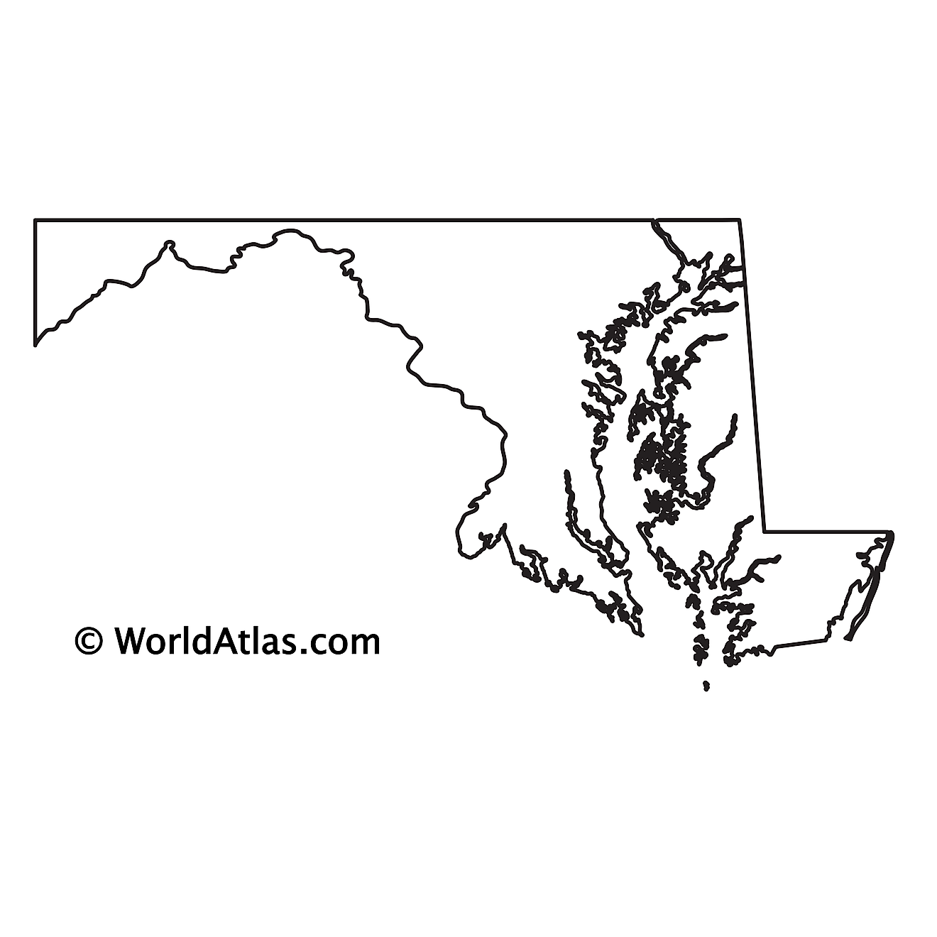 Blank Outline Map of Maryland