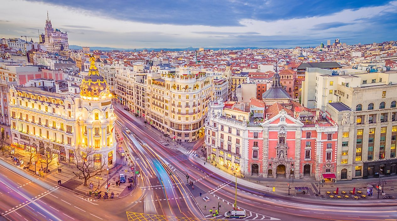 Downtown Madrid, the capital city of Spain.