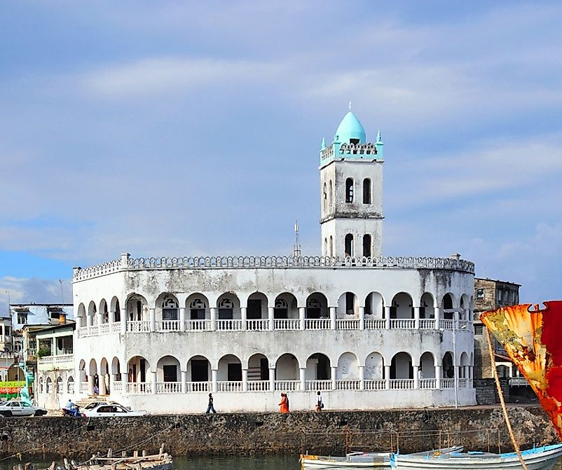 A unique port-side mosque along the seashore in the city of Moroni, Comoros.