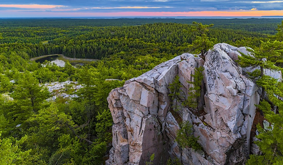 The Crack, a large rock formation in Killarney Provincial Park in Ontario, Canada.