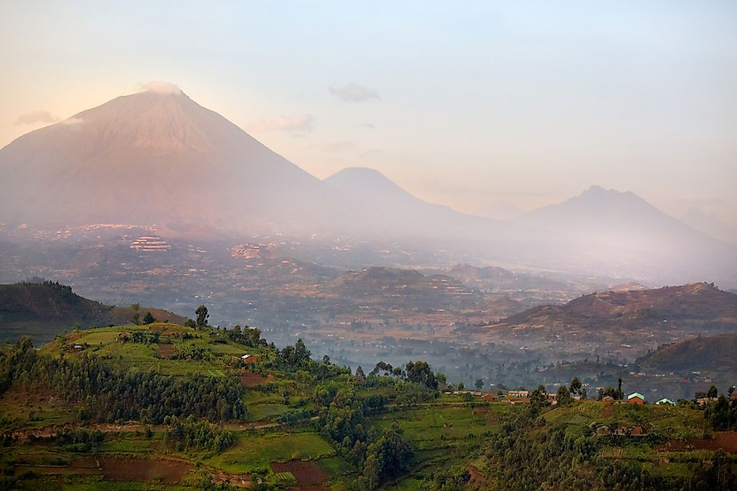 Volcanoes and Mgahinga Gorilla National Park in the Virunga Mountains.