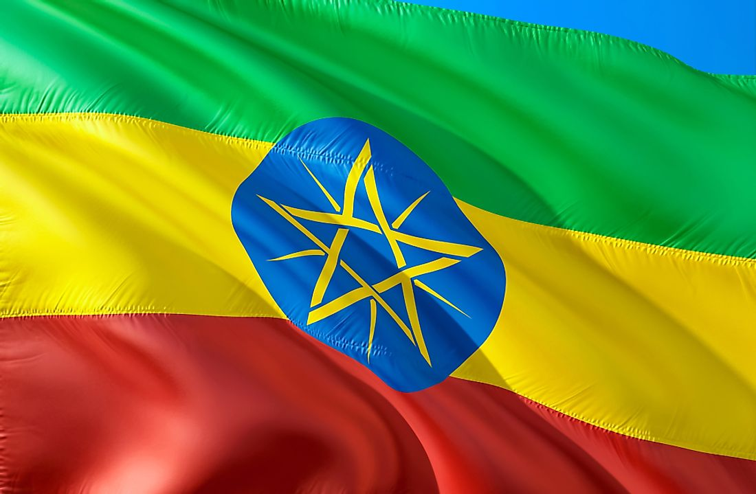 The flag of Ethiopia.