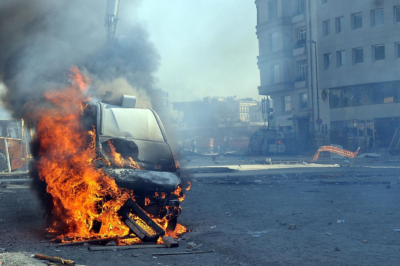 Violence resulting from riots can often include the burning of vehicles.