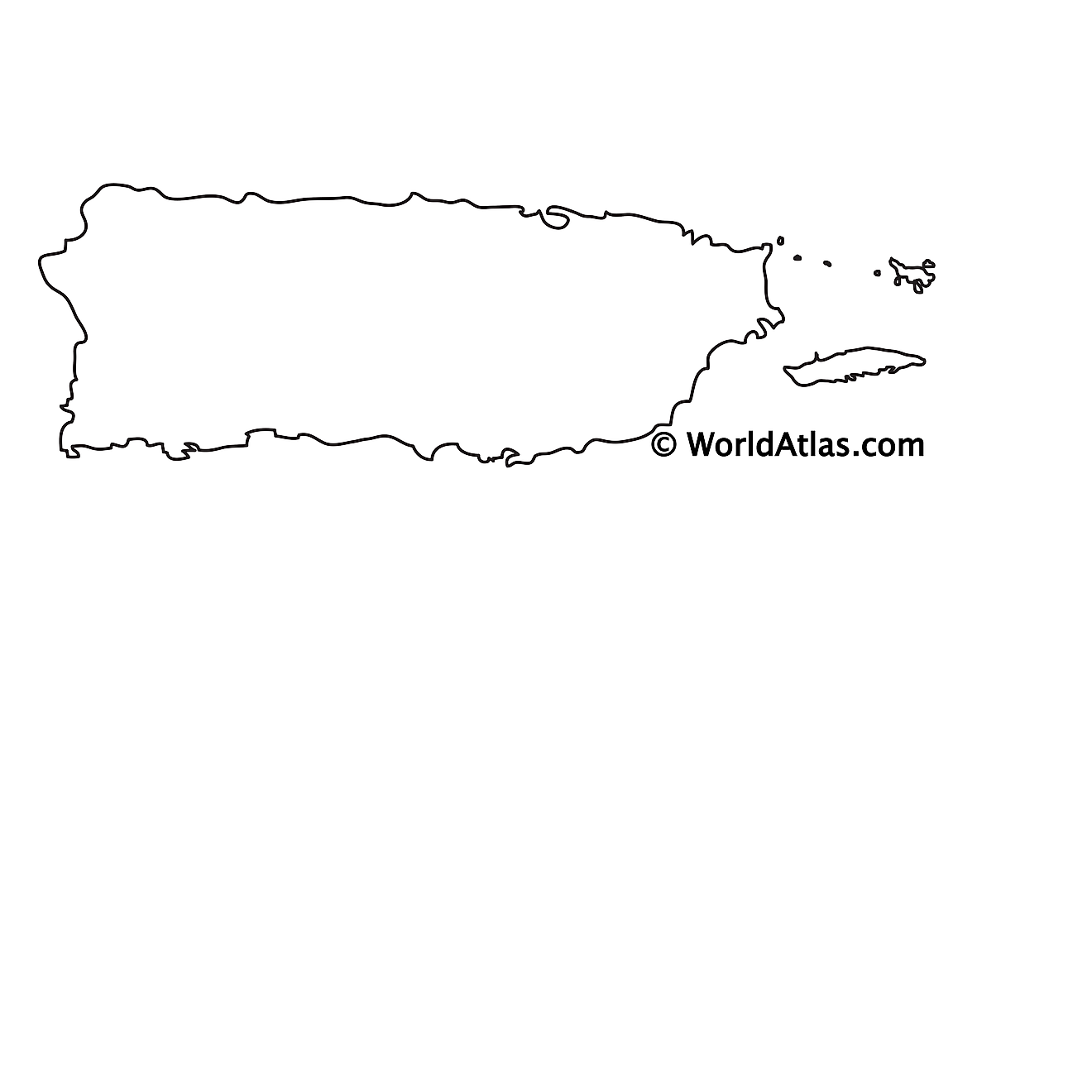 Blank outline map of Puerto Rico