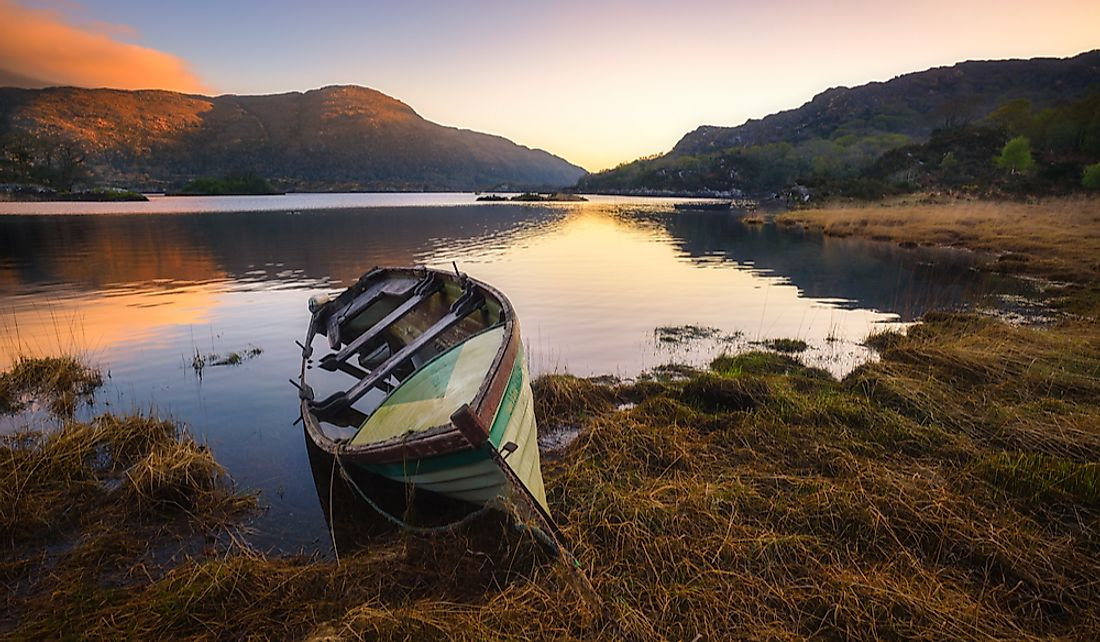 Small fishing boat at Killarney Lake in Kerry, Ireland.