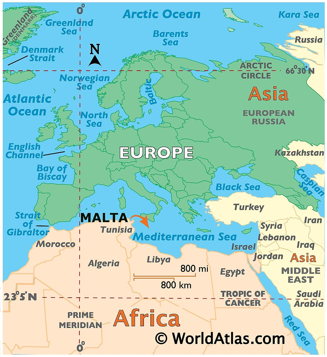 Map showing location of Malta in the world.