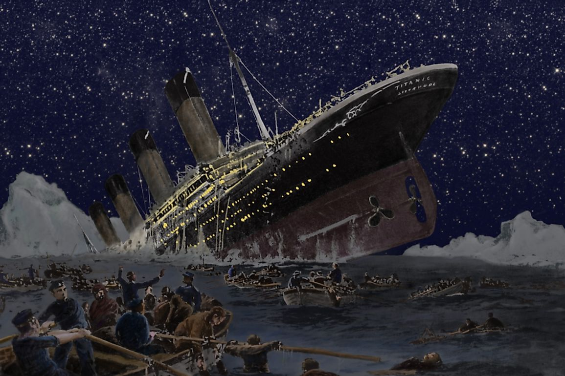 The Titanic sank in the early morning of April 15, 1912, in the Northern Atlantic Ocean.