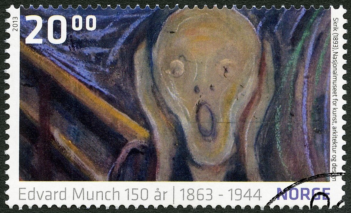 Editorial credit: Olga Popova / Shutterstock.com. A Norwegian stamp honoring the famous painting, circa 2013.
