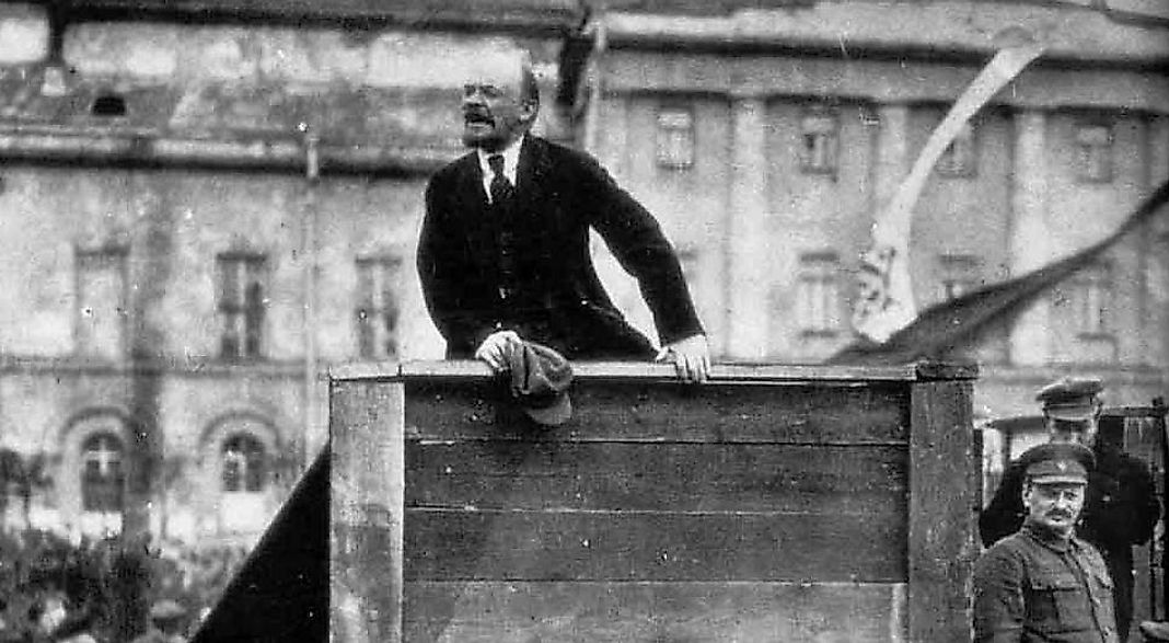 Lenin addressing a crowd in Sverdlov Square, Moscow, 1920.