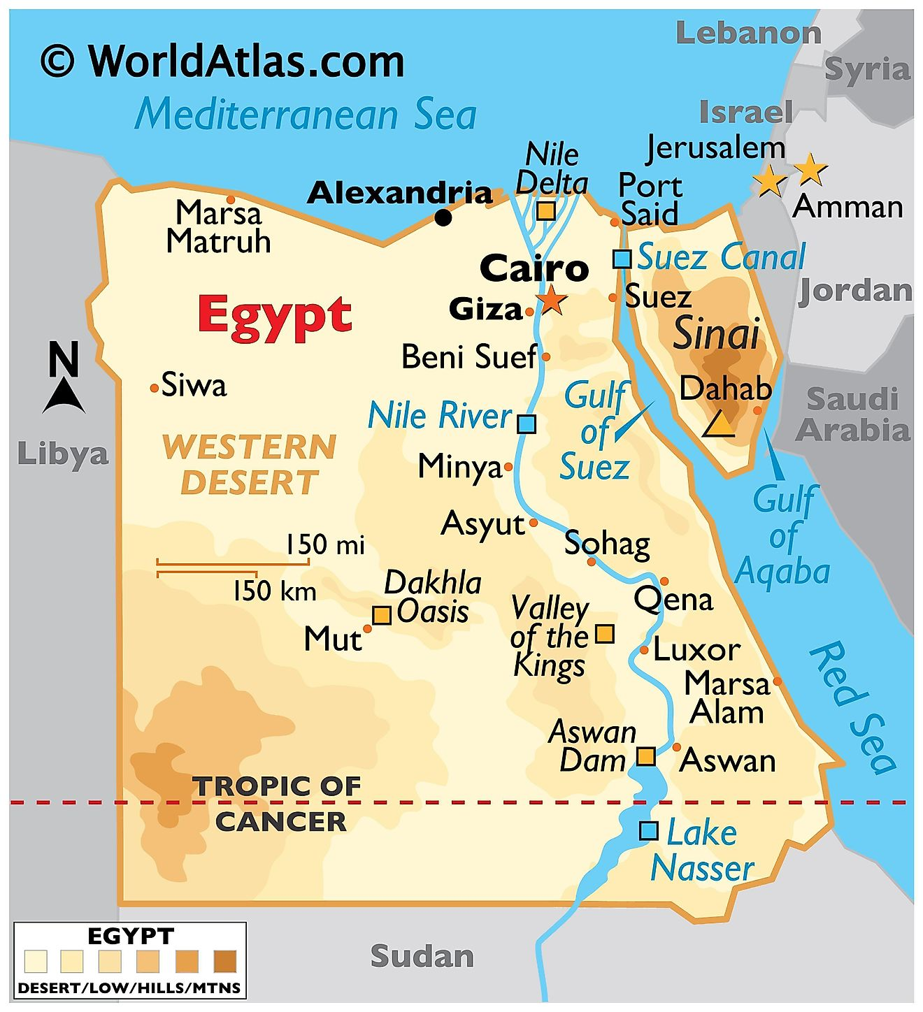Physical Map of Egypt showing the state boundaries, relief, the Nile River, major lakes, deserts, and important cities.