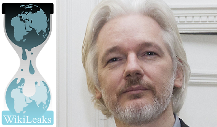 The WikiLeaks logo and one of the most important people in its early history, Julian Assange.