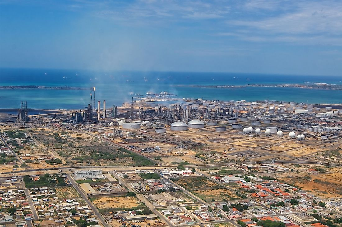 An oil and gas refinery in Venezuela.
