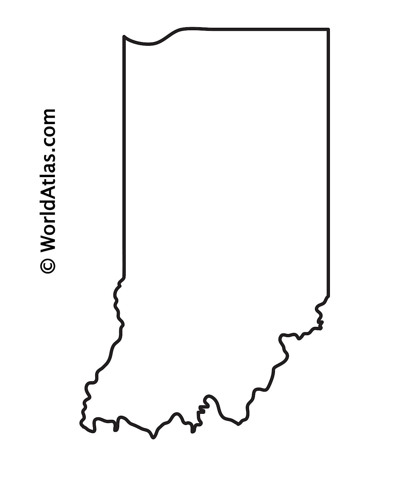 Blank Outline Map of Indiana