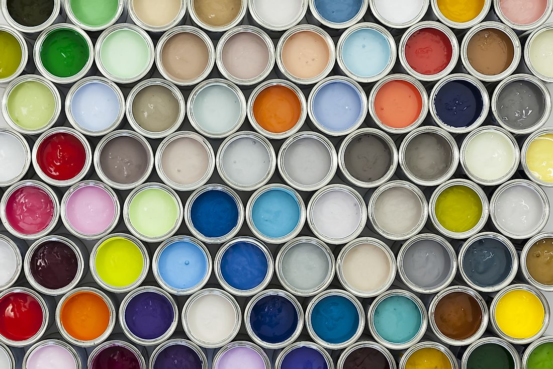 A collection of paint cans.