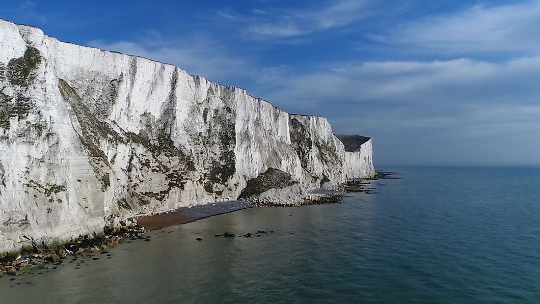 The White Cliffs of Dover on the Dover Strait.