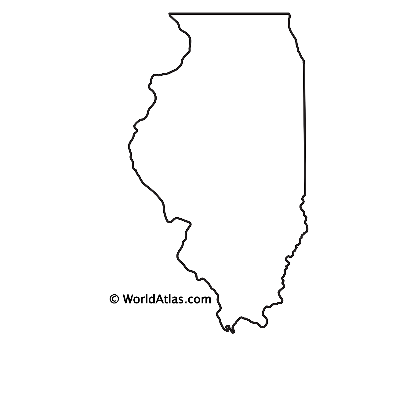 Blank Outline Map of Illinois