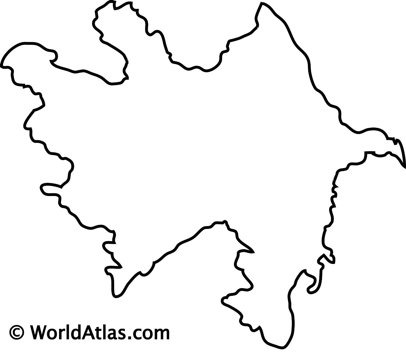 Blank Outline Map of Azerbaijan