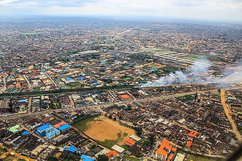 Aerial view of the sprawling metropolis of Lagos.