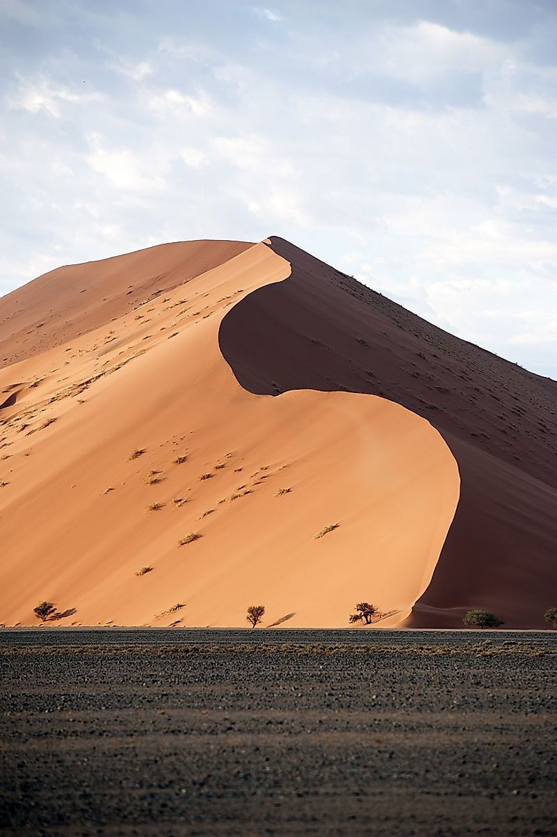 Cathedral-shaped dunes' peaks reach for the skies in the Sossusvlei region of the Namib Desert.