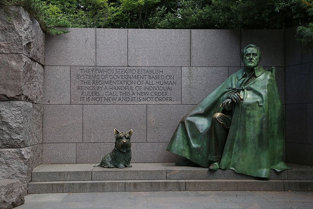 A memorial to former president FDR, who was from New York. Editorial credit: DavidNNP / Shutterstock.com.