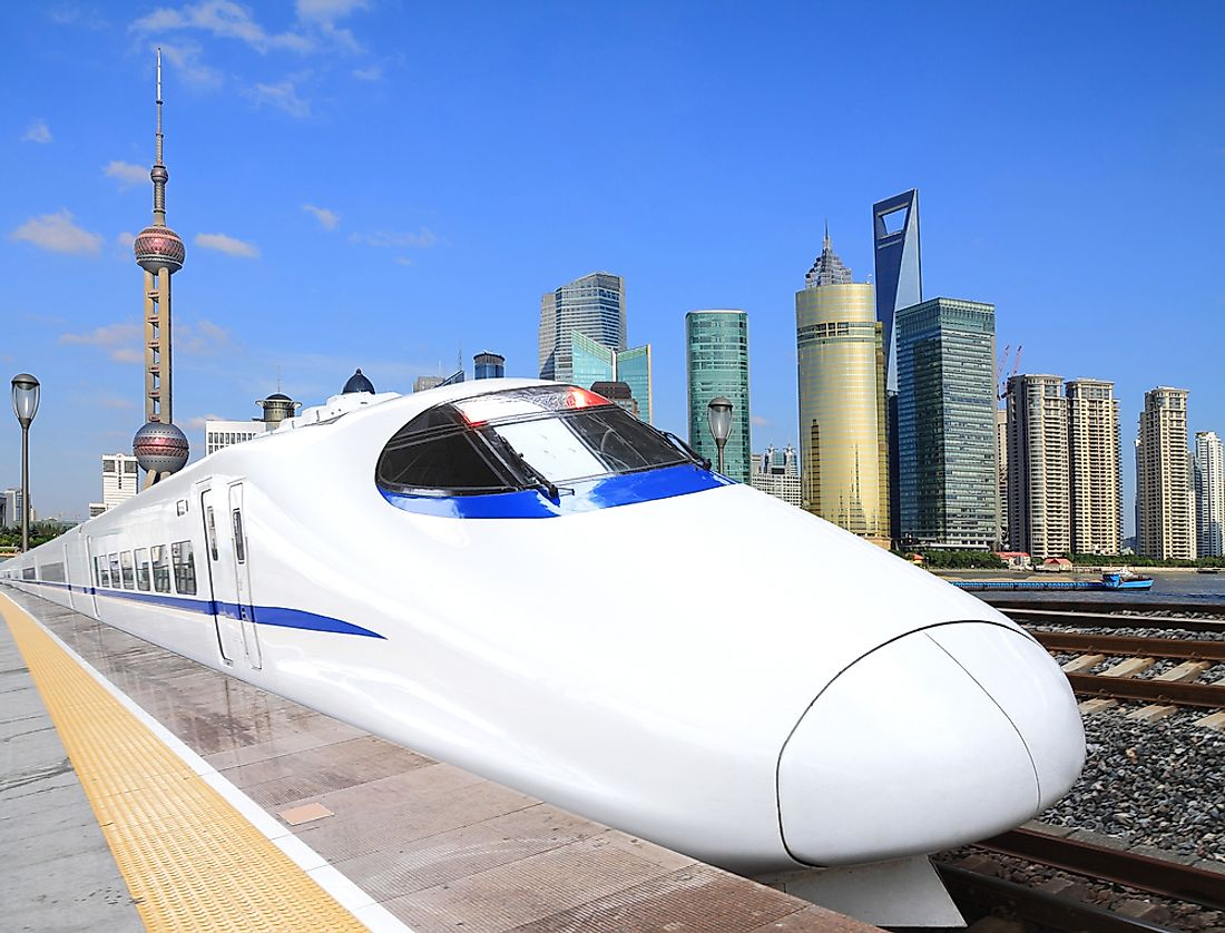 A high speed train with Shanghai in the background.
