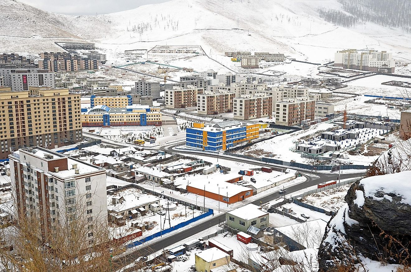 A winter scene in Ulaanbaatar, The Coldest Capital City In The World.