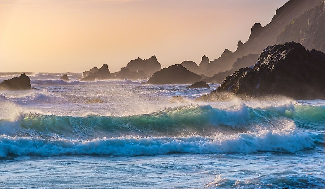 Waves at Pfeiffer Beach in Big Sur, California.