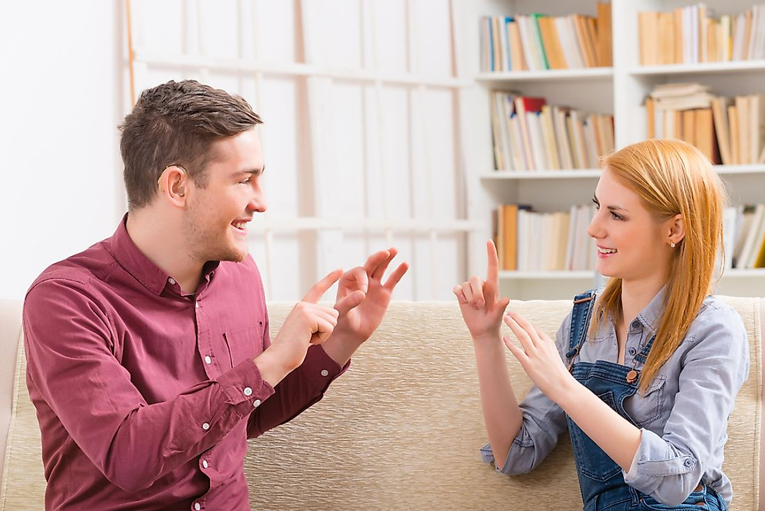 American Sign Language is used by many in the Anglo-American deaf community to communicate.