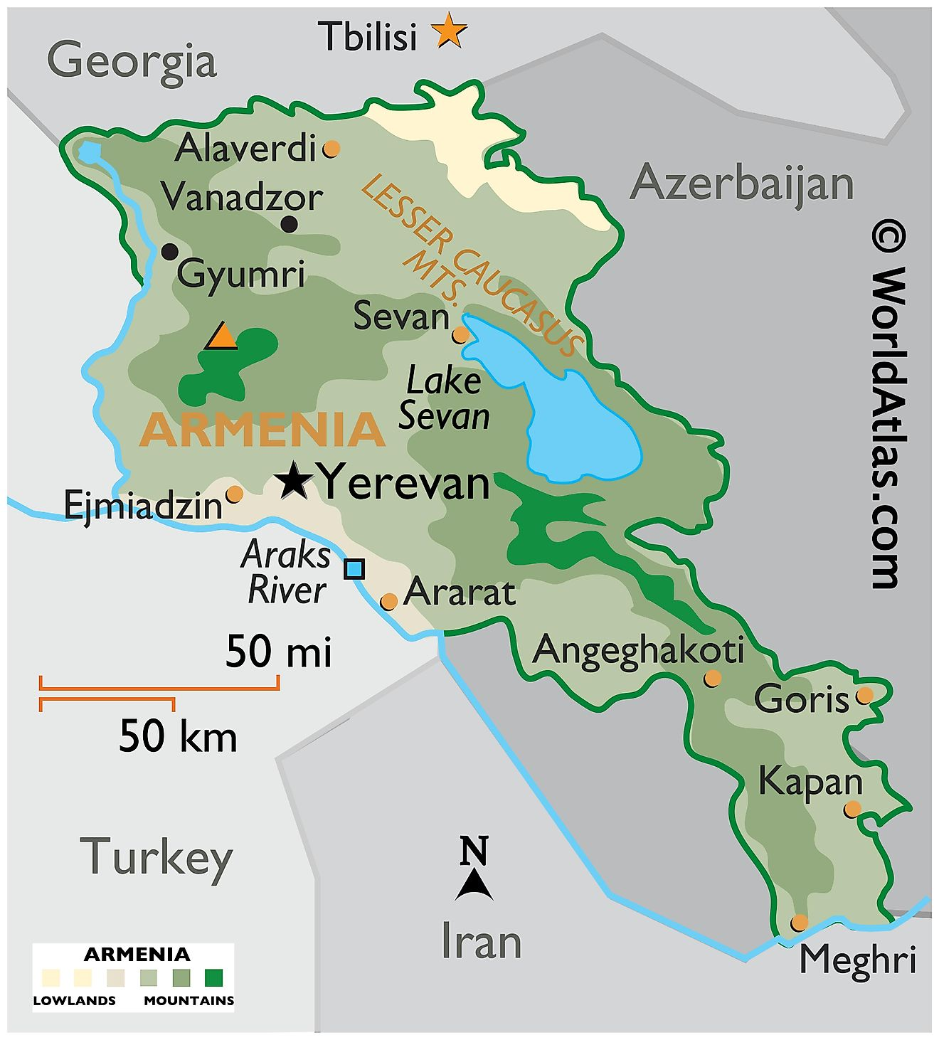 Physical Map of Armenia showing state boundaries, relief, major rivers, mountain ranges, important cities, etc.